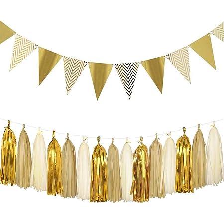 Easy Joy Gold Party Dekoration Set Wimpelkette Papier Rosetten Pompoms...