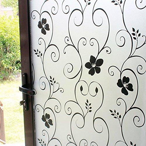 DUOFIRE Privatsphäre Fensterfolie Dekorfolie Sichtschutzfolie Ohne Kleber Selbstklebend Glas Fenster Aufkleber Anti-UV Folie (90cm X 200cm, DP014B)