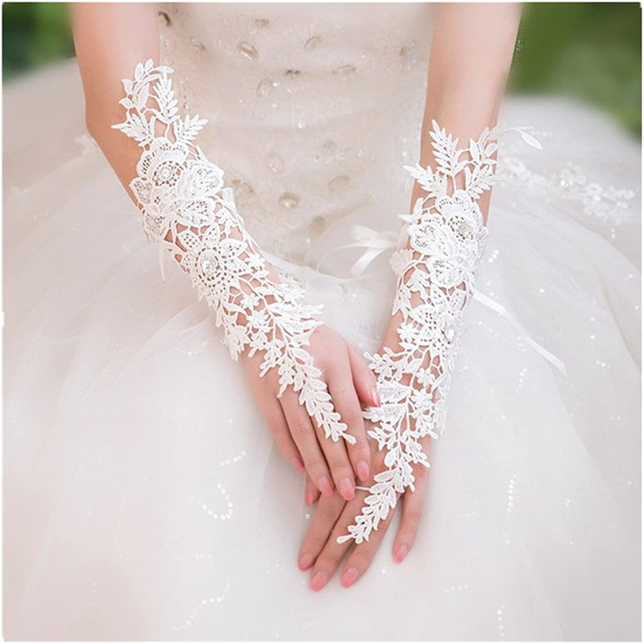 Lianshi Long Fingerless Gloves Lace Pierced Bridal High-end Sexy Gloves for Wedding Party and Women and Girls(white)