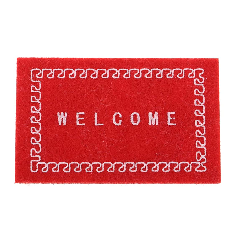 Perfeclan 1/12 工芸品 ミニチュア家具 1/12スケール マット カーペット ラグ ドアマット ドールハウス装飾 5色 - レッド