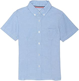 French Toast Junior's Short Sleeve Oxford Shirt, Light Blue, S