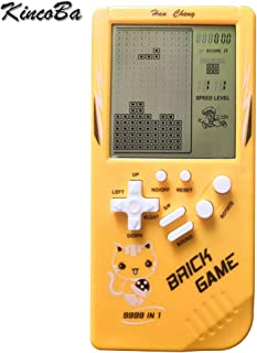 KincoBa Kids 3.5 inch Big Screen Console for Children Built-in 23 Games Toy Retro Tetris Game Console Classic Intellectual Toys Handheld (Yellow)