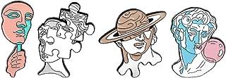 Generico 4Pcs di Arte della Scultura Brooch di Pin della Lega dello Smalto Pin Collare di Personailzed Arte Distintivo del...