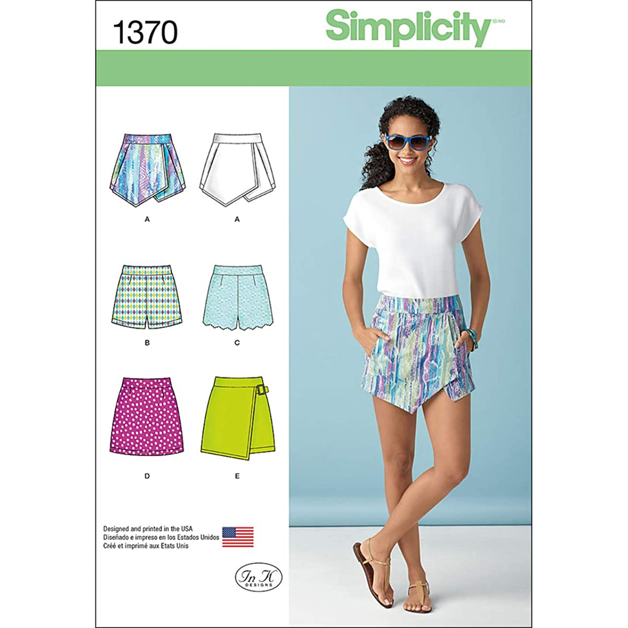 Simplicity 1370 Women's Vintage Shorts, Skorts, and Skirt Sewing Patterns, Sizes 14-22