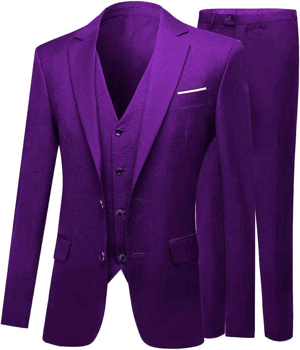Men's 3 PC Peak Lapel Dark Navy Suits Slim Fit Groom Tuxedos Wedding Suits