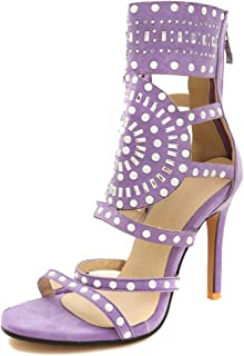 Judy Bacon Women's Dressy Summer Sandals - High Heels Rhinestones - Back Zipper