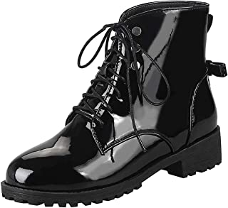 Vitalo Womens Low Block Heel Brogue Shoes Lace up Patent Oxford Ankle Boots