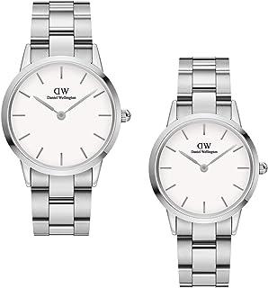 Daniel Wellington Unisex Iconic Link Couple Watch Gift Set, Silver