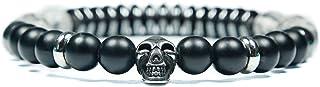 Skulls and Spirits - Convoy Jaspe - Pulsera con cranio de acciaio inossidabile y jaspe - Pulsera combinada (hecho en España)