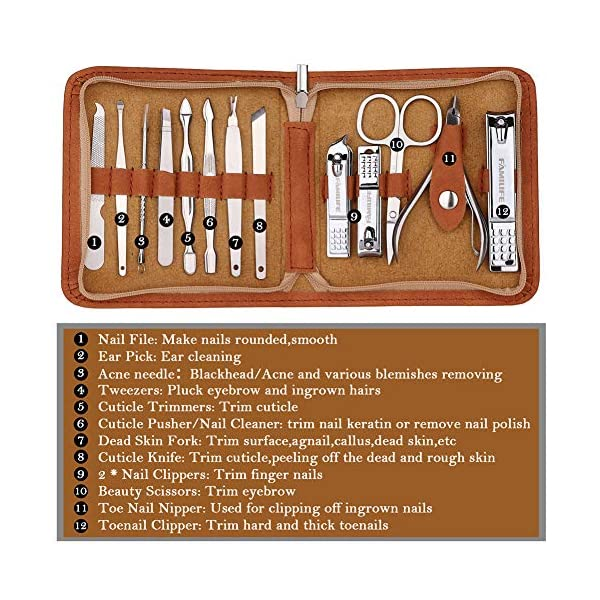 Beauty Shopping FAMILIFE F03 Manicure Set, Pedicure Kit Nail Clipper Set 13pcs Professional Men Grooming