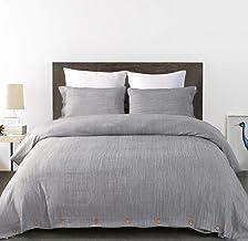 طقم غطاء لحاف KINBEDY مكون من 3 قطع من الكتان مثل أغطية السرير خفيفة الوزن وجيدة التهوية مع زر إغلاق (بدون لحاف) (رمادي فا...