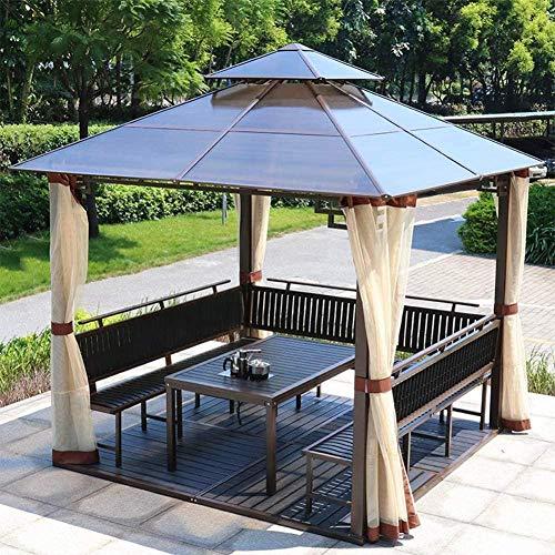 Gazebo de jardín Toldo al Aire Libre Villa Tabla Pérgola Pabellón Tent con Paredes Laterales para Patio Jardín Tarjeta Solar Barbacoa Exterior