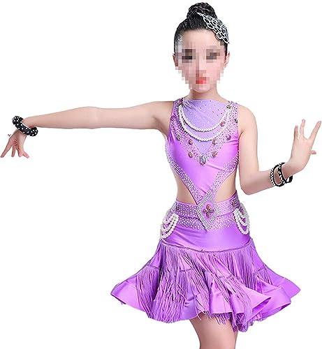 Robes Activewear Filles Jupe Gland Sequin Costumes de Danse Latine pour Les Robes de Danse des Enfants (Couleur   Violet, Taille   120cm)