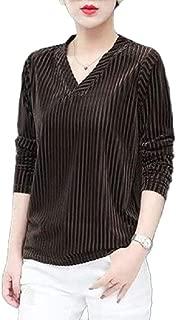 Coolred Women V Neck Velvet T-Shirt Long Sleeve Winter Fall Blouse Tops