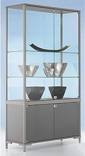 Vitrine compartimentée LINK - vitrage sur 4 côtés, avec armoire inférieure - h x l x p 1860 x 1000 x 400 mm - armoire vitr...
