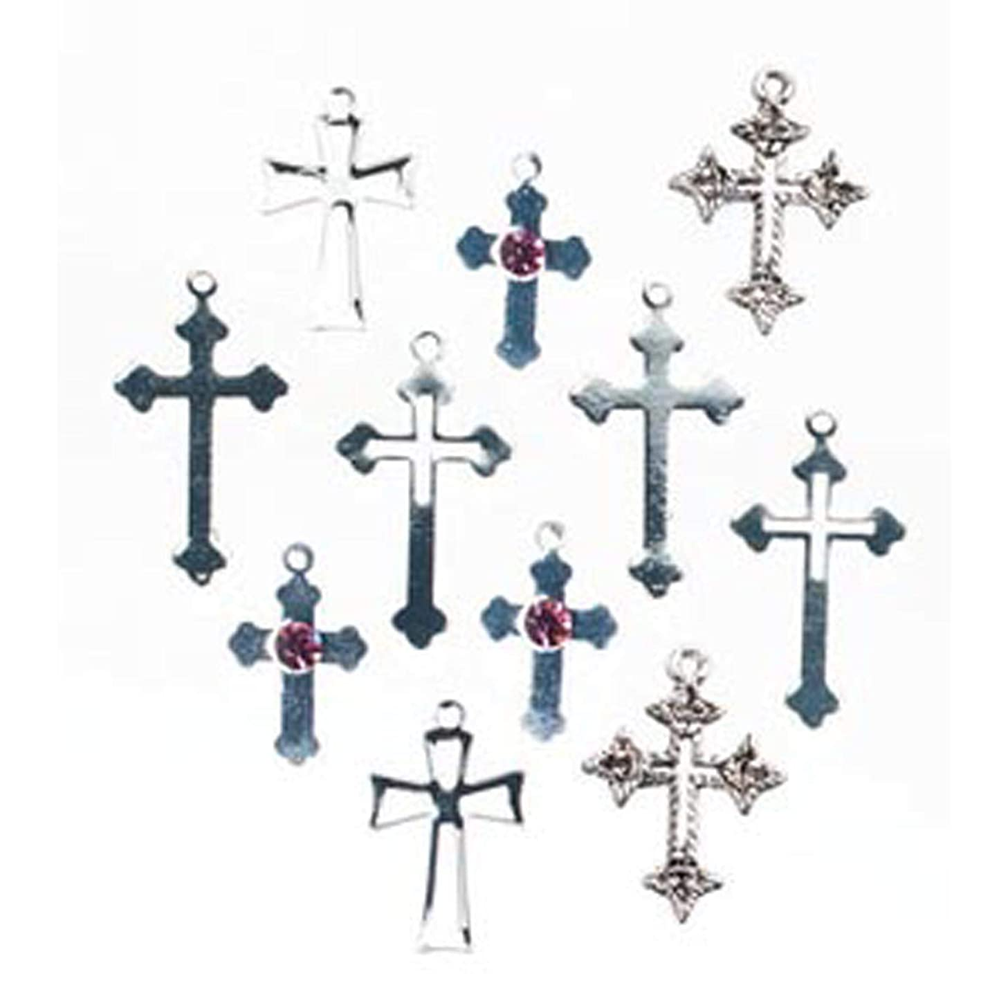Bulk Buy: Darice DIY Crafts Cross Charms Silver Assorted Shapes and Sizes 12 pieces (3-Pack) 1970-58