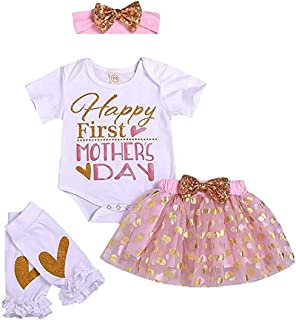 SUPEYA Baby Girls Happy First Mother's Day Outfits Romper+Dot Skirt+Headband 4Pcs Set