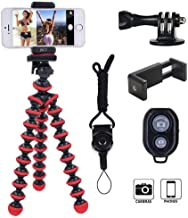 Tripod for Camera,Filming Portable and Flexible Adjustable Stand Holder with Remote and Universal Clip Compatible with iPhone Android Phone Compact Digital Camera Sports GoPro (Red&Black)