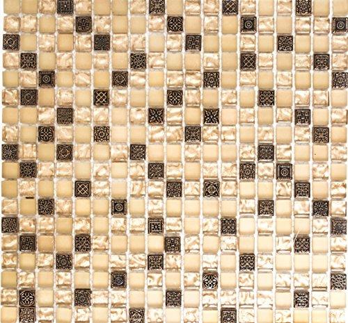 Glasmosaik Quadrat Crystal/Stein/Resin mix beige/beige matt Glas Naturstein Ornament Fliesenspiegel, Mosaikstein Format: 15x15x8 mm, Bogengröße: 322x305 mm, 10 Bögen