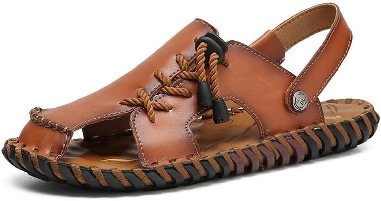 GAOLIXIA Sommer Baotou Herren Sandalen Leder Casual Sandalen und Hausschuhe EIN Schuh Zwei tragen Dunkelbraun Hellbraun