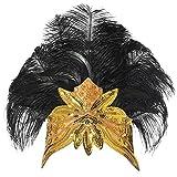ArtiDeco 1920 Diadema de Pluma Cinta para el Pelo con Cristal Vintage Años 20 Flapper Pelo Banda de Pluma con Lentejuelas Disfraz Gatsby Accesorio