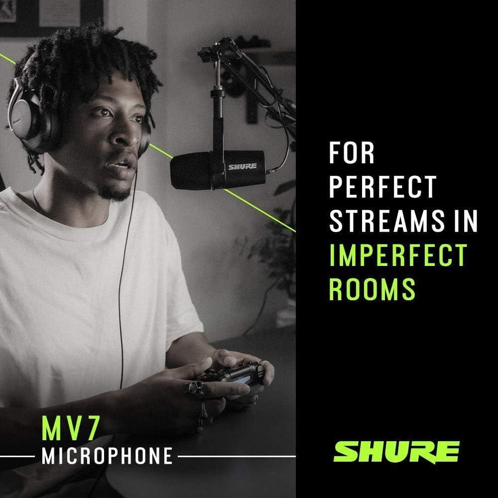 grabaci/ón Micr/ófono USB para podcasting color plateado con brazo de micr/ófono Rockjam MS050 salida de auriculares integrada transmisi/ón en vivo y juegos Shure MV7