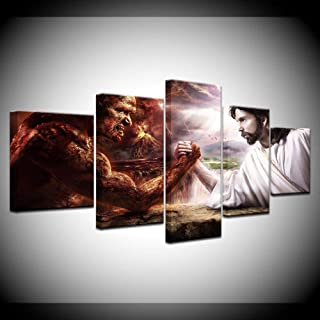 ZHFFYY Canvas Painting 5 Panel HD Print 5 pcs Canvas Wall Art Print Jesus vs Satan Painting Home Decor Canvas Painting for Living Room Decor Picture Artwork