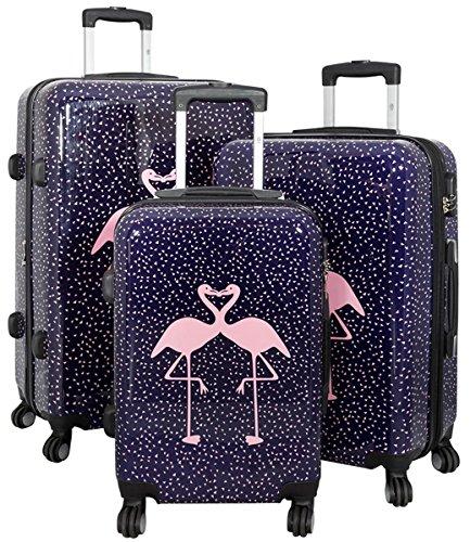 set di tre valigie bagaglio trolley policarbonato rigido leggero 4 ruote 360° con motivo PM (Fenicotteri)