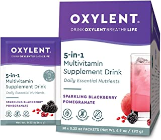 Oxylent 5-in-1 Multivitamin Supplement Drink - Effervescent for Easy Absorption of Vitamins, Minerals, Electrolytes, Antioxidants, Sparkling Blackberry Pomegranate Flavor, 30 Count