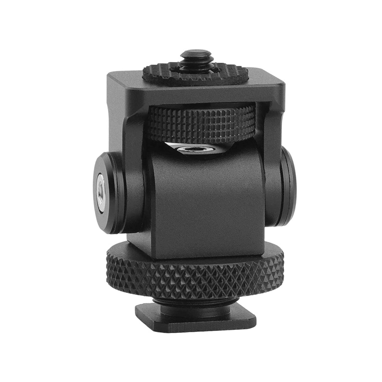 AFVO Tooless Pan Camera Monitor Holder Mount with Cold Shoe, Friction Up to 180°, CNC Aluminium Black