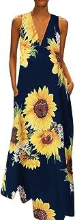CCatyam Plus Size Dress for Women, Skirt V Neck Print Maxi Loose Sexy Party Fashion