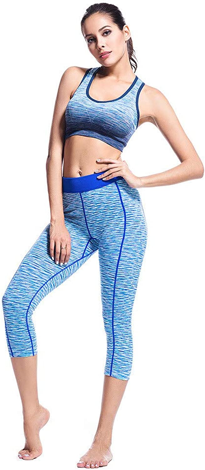 Women's Training Pants Yoga Fitness Set Digital Printing QuickDrying Vest Sports High Waist Pants 2 Piece Set Fitness Yoga Set (Size   M)
