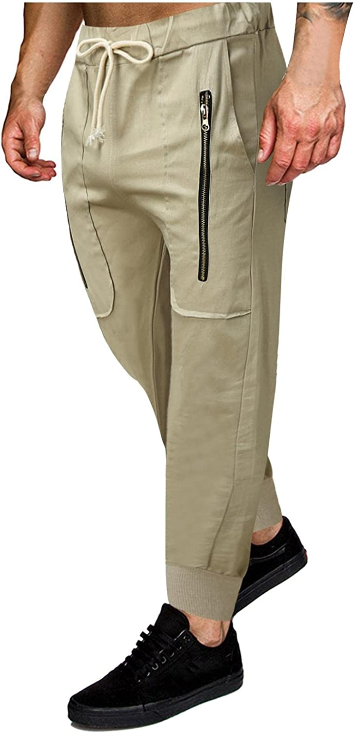 Huangse Autumn Solid Color Tooling Multi-Pocket Pants for Men Casual Cargo Pants Stylish Side Zipper Slim Trousers