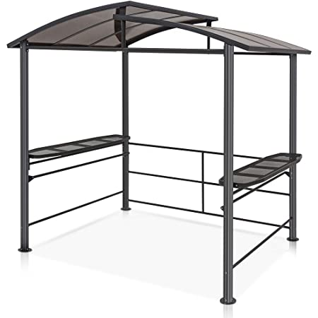 COOL Spot 8'x5' BBQ Grill Gazebo Outdoor Backyard Steel Frame Double-Tier Polycarbonate Top Canopy with Shelves Serving Tables