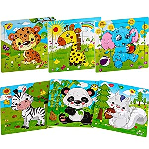 Aitey Wooden Jigsaw Puzzles for Kids Ages 2-5 Toddler Puzzles 9 Pieces Preschool Educational Learning Toys Set Animals Puzzles for 2 3 4 Years Old Boys and Girls (6 Puzzles) from Aitey