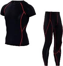 Herren Kompressions Kurze Ärmel T Shirt & Kompressions Joggingpants Base Layer Basic Unterwäsche Fitness