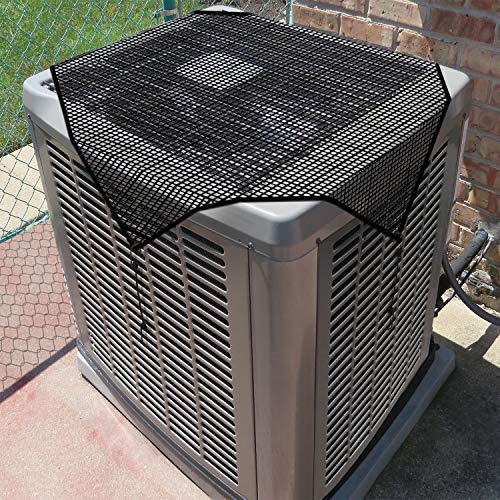 Coarbor Outdoor Air Conditioner Condenser Cover AC Unit Compressor Defender Cover Mesh Keep Leaves Out with Bungee Cords 28''x28''