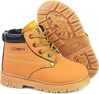 LAFEGEN Kids Boys Girls Hiking Boots Anti-Slip Rubber Sole Lace Up Waterproof Ankle Outdoor Martin Boots (Toddler/Little Kid)