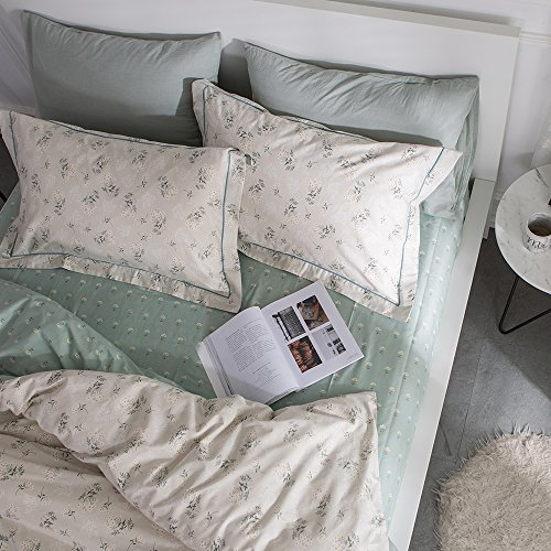 HIGHBUY Spannbetttuch, 100 % weiche Baumwolle, Blumenmuster, für Doppelbett, mit...