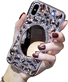 iPhone Makeup Mirror Case XS 5.8'',iPhone X Bling Glitter Clear Crystal Full Diamonds Luxury Sparkle Transparent Rhinestone Protective Phone Case Cover Bumper for Woman Girls with Screen Protector.