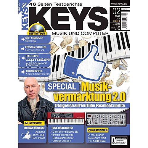 Keys 2 2016 mit DVD - Musikvermarktung 2.0 - Midi Sequenzer Smidy Free auf DVD - Personal Samples - Free Loops - Audiobeispiele