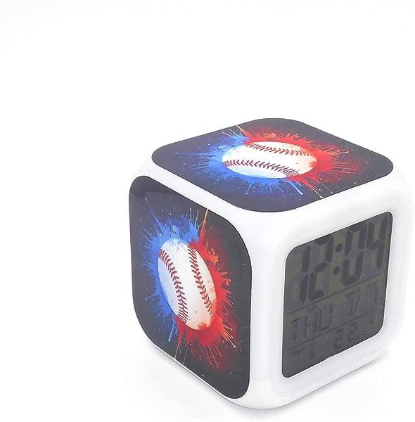 Boyan New Baseball Sports Blue Led Alarm Clock Creative Desk Table Clock Multipurpose Calendar Snooze Glowing Led Digital Alarm Clock For Unisex Adults Kids Toy Gift