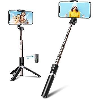 Bovon Perche Selfie Bluetooth, 3 en 1 Mini Trépied Smartphone Extensible Selfie Stick Monopode en Aluminium avec Télécommande Sans Fil Compatible avec iPhone 12 Pro Max/12 Mini/11/XR/X/8, Samsung, etc