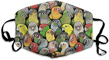 ASAAAF Colour of Conures Unisex Adult Ear Loop Face - Anti Dust Warm Cycling Mouth Various Use Adjustable Mouth