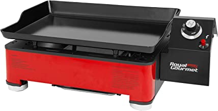Royal Gourmet PD1202R Portable Table Top Propane Gas Grill Griddle, for Outdoor Cooking While Camping or Tailgating, 18-Inch, Red