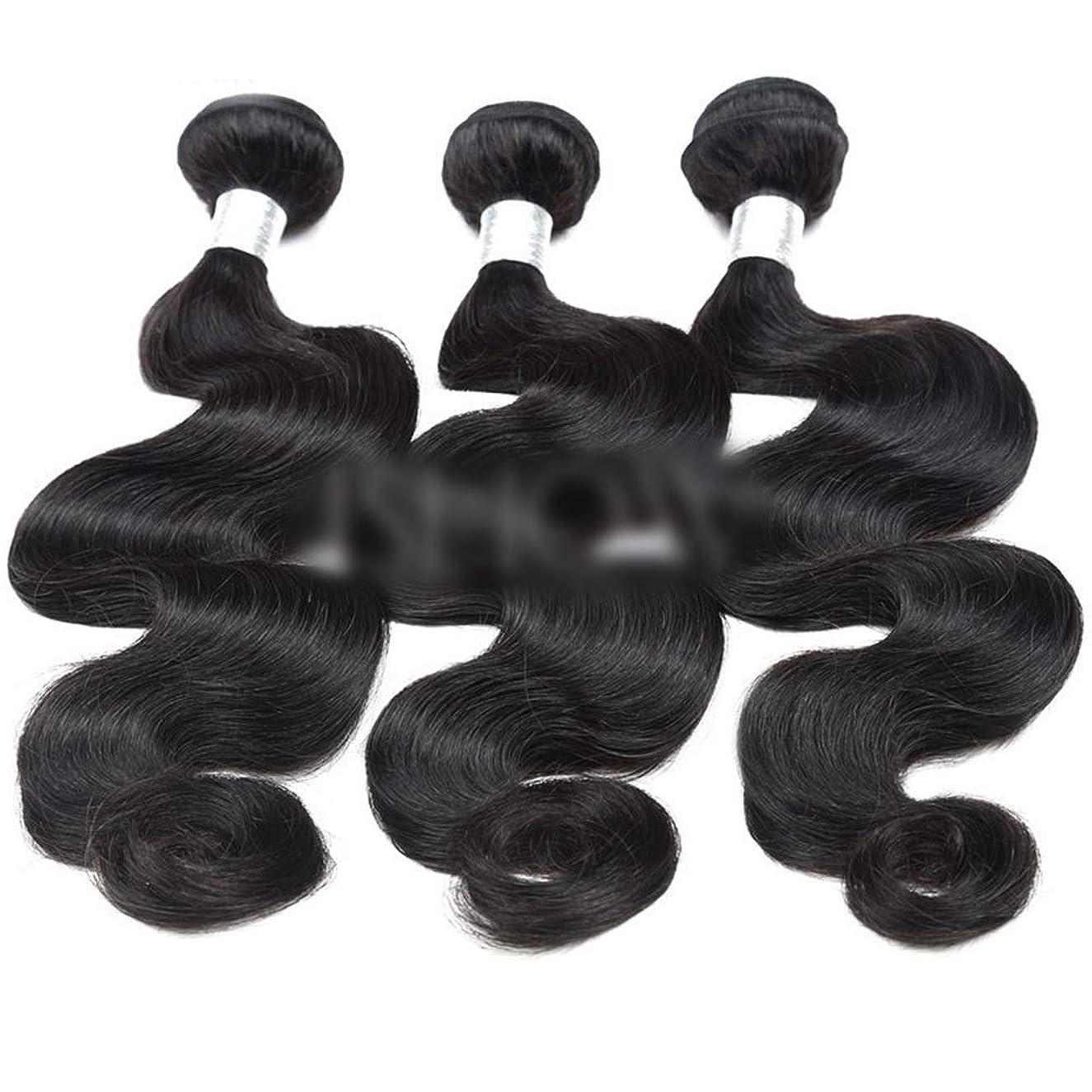 調整可能二度壊すYESONEEP 8インチ-24インチブラジルリアル人間の髪バンドル実体波カーリーヘアエクステンション用女性ナチュラルカラービッグウェーブかつら (色 : 黒, サイズ : 12 inch)