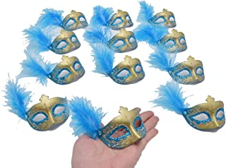 Small Masquerade Masks Party Decoration - Yiseng 12pcs Luxury Pearl Feather Mini Masks Mardi Gras Novelty Gifts