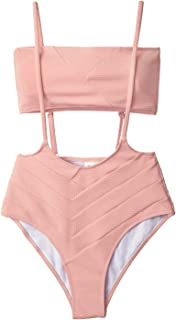 Women's Peach Bandeau High Waist Suspender Two Piece Swimsuit