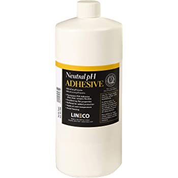 Lineco Neutral pH Adhesive, Archival Quality Acid-Free PVA Buffered Adhesive Dries Clear Flexible, 1 Quart, Ideal for Paper Board Framing Collage Crafts Bookbinding