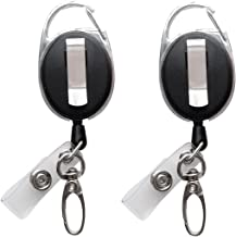 Retractable Badge Reel with Claw Clasp and Clip for Id Card Holders (2Pack)